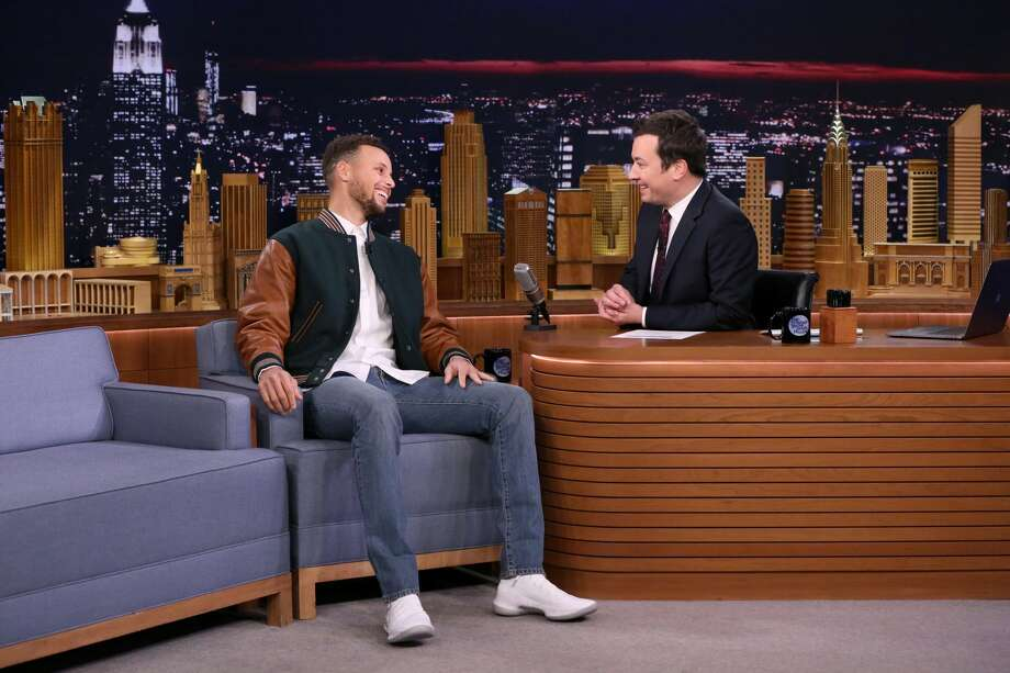 Stephen Curry during an interview with host Jimmy Fallon on November 20, 2017. Photo: NBC/NBCU Photo Bank Via Getty Images