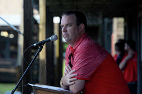 Athletic director Jason Henderson speaks during Lamar University's football kickoff party at the Spindletop-Gladys City Museum on Thursday evening.  Photo taken Thursday 7/27/17 Ryan Pelham/The Enterprise