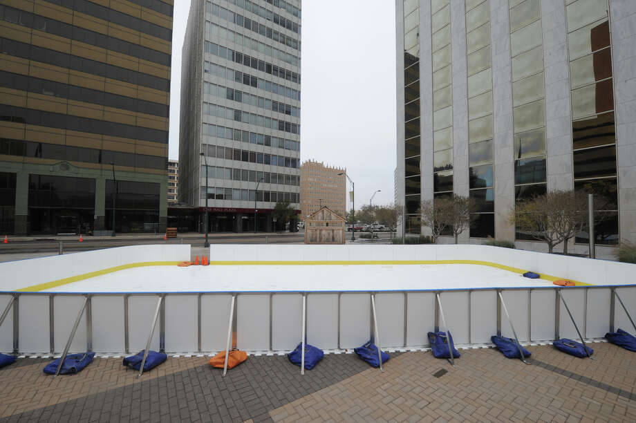 A temporary ice skating rink was set up for holiday season 2016 in downtown Midland near the corner of Wall Street and Big Spring in front of the Bank of America building. Midlanders can skate again beginning Dec. 2. Photo: MRT File / © 2016 Midland Reporter Telegram. All Rights Reserved.