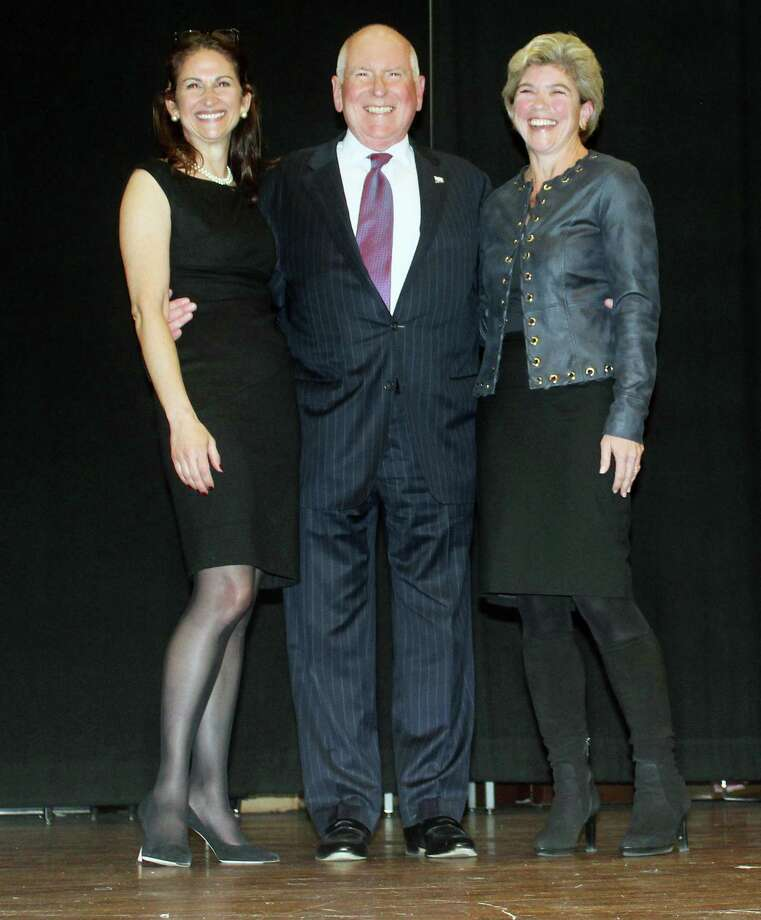 Newly elected Board of Selectman members Melissa Kane, Jim Marpe, and Jennifer Tooker. Photo: Sophie Vaughan /Hearst Connecticut Media