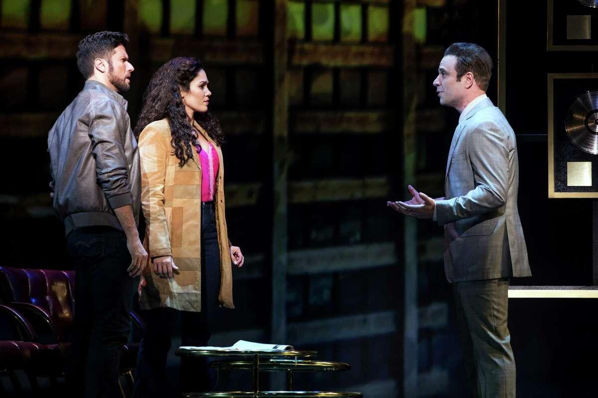 Mauricio Martinez as Emilio Estefan, Christie Prades as Gloria Estefan and Devon Goffman as Phil, ONYOUR FEET!