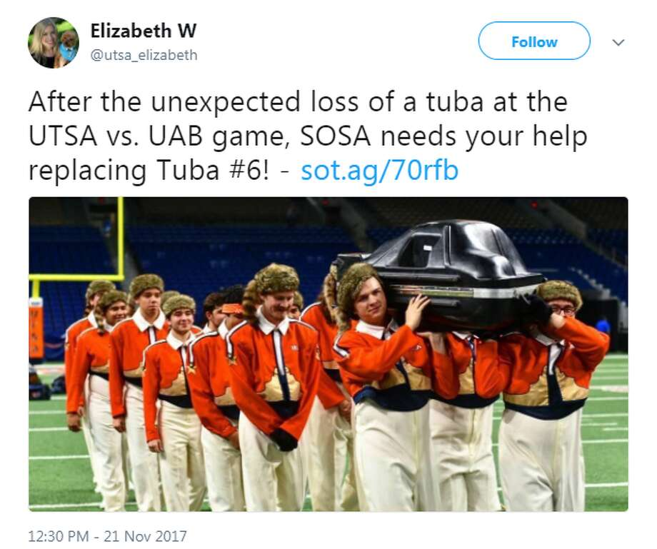 "UTSA may be celebrating clenching their second consecutive bowl eligibility, but they are still in a state of mourning after ""Tuba Six"" was ravaged during a football game. Nov. 11 was the day the music died for Tuba Six, while the Roadrunners hosted the University of Alabama at Birmingham at the Alamodome."