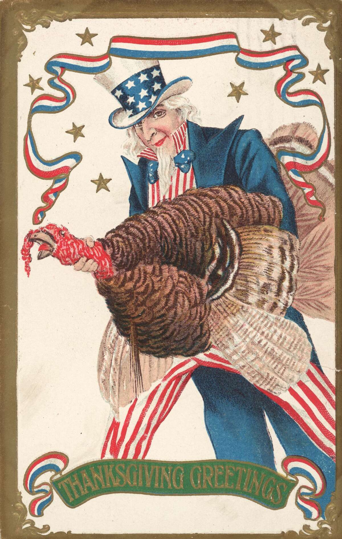 Uncle Sam holds a large live turkey in a postcard, circa 1850.