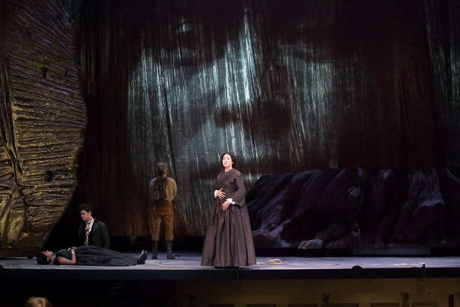 """Julia Bullock (right) plays the central role of Dame Shirley in the S.F. Opera world premiere of John Adams and Peter Sellars' """"Girls of the Golden West."""" Photo: Paul Kuroda, Special To The Chronicle"""