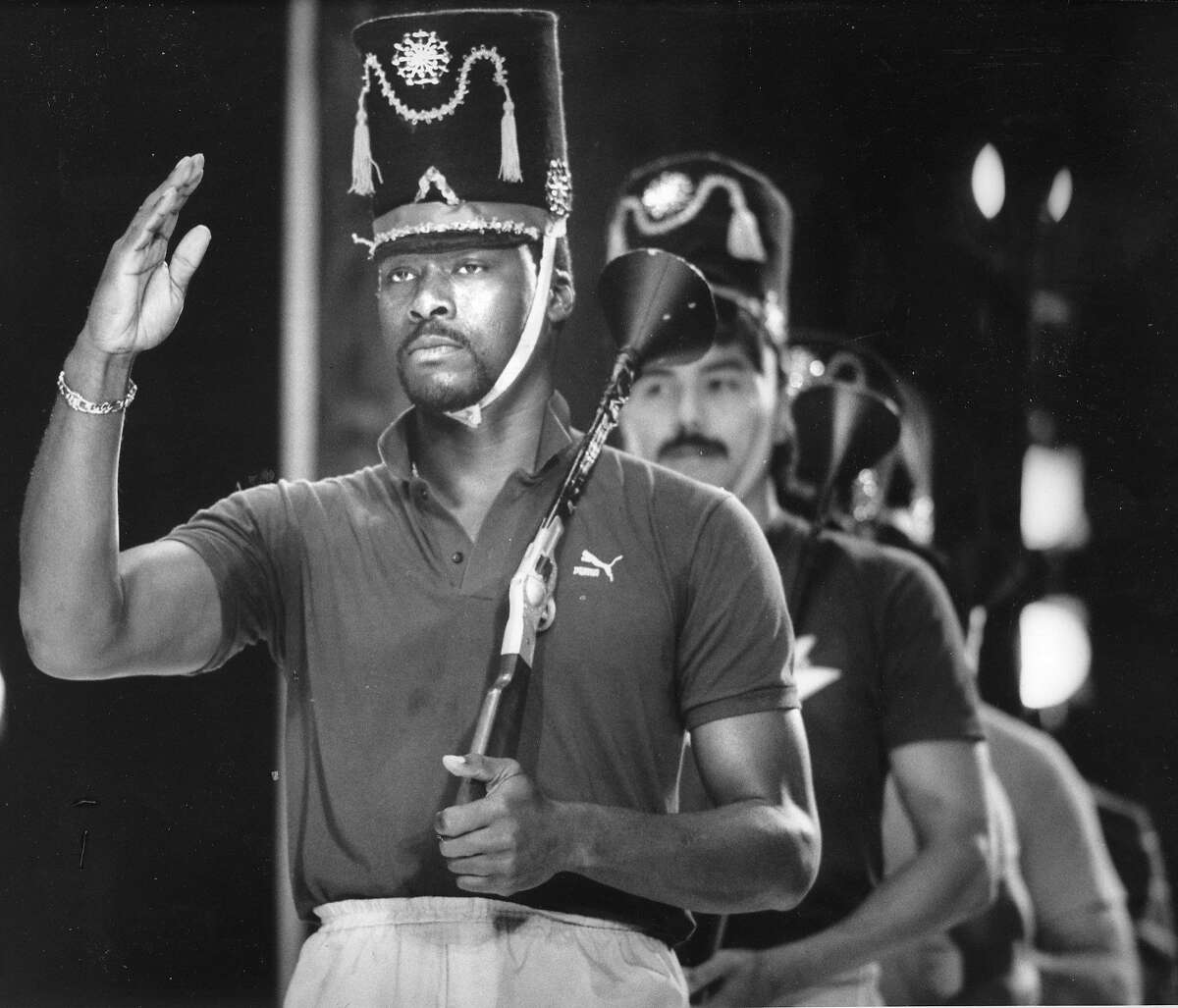 An All-Star night Oakland Athletics baseball players would perform in the Oakland Ballet's production of The Nutcracker, Here, they are rehearsing, December 16, 1987. Here Dave Stewart, followed by Rich Rodriguez and other Oakland A's are marching