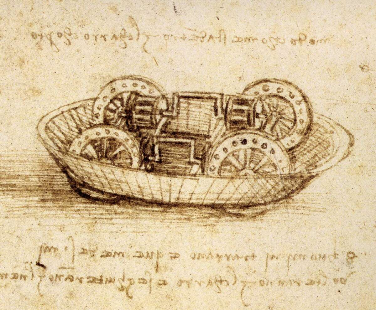 Drawing of a military machine from a Leonardo da Vinci notebook, circa 1485-90. The drawing is located in the British Museum in London.