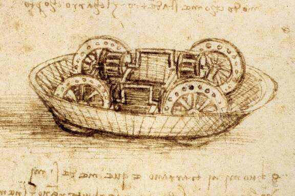 Drawing of a military machine, possibly the inner workings of a tank, from a Leonardo da Vinci notebook; ink on paper, circa 1485-90. Located in the British Museum, London. (Photo by GraphicaArtis/Getty Images)