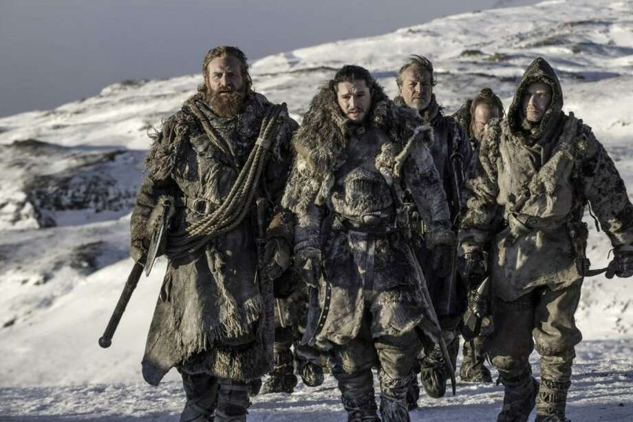 """Kristofer Hivju as Tormund Giantsbane, Kit Harington as Jon Snow, Iain Glen as Jorah Mormont and Joe Dempsie as Gendry on """"Game of Thrones."""" Behzad Mesri, 29, an alleged member of an Iran-based group of hackers called the Turk Black Hat security team, was charged with breaking into HBO's computer servers and trying to extort $6 million in bitcoin from the cable network. Photo: Helen Sloan /HBO / HBO"""