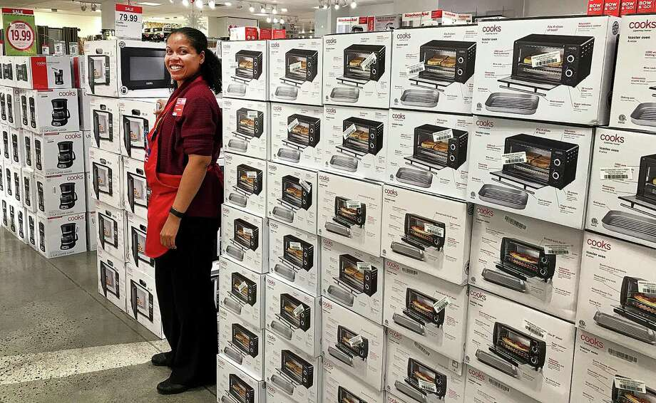 Lisa-Marie Irizarry, general manager of the JCPenney at Danbury Fair, stands among the Black Friday displays of small appliances at the store in Danbury Fair on Monday, Nov. 20, 2017. Photo: Chris Bosak / Hearst Connecticut Media / The News-Times