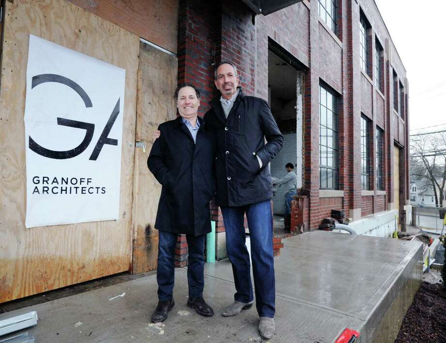 Richard Granoff, left, of Granoff Architects and partner Jeffrey Mendell in front of the former Connecticut Light & Power building at 330 Railroad Ave., Greenwich, Conn., Tuesday, Jan. 24, 2017. Photo: Bob Luckey Jr. / Hearst Connecticut Media / Greenwich Time