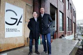 Richard Granoff, left, of Granoff Architects and partner Jeffrey Mendell in front of the former Connecticut Light & Power building at 330 Railroad Ave., Greenwich, Conn., Tuesday, Jan. 24, 2017.