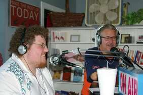 Jacob Larsen, left, and Rick Koch or 'Uncle Rick' share some laughs during an interview with Richard Pryor Jr. on 'That Show with Those Guys,' which aired live on Sept. 28, 2017. (photo by Niky House)