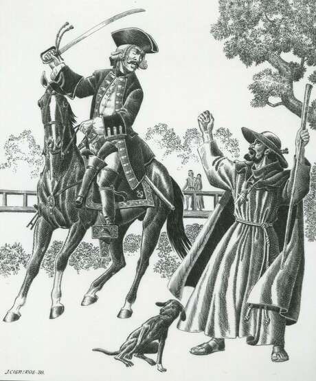 """Carlos Franquis de Lugo, governor ad interim of Texas, quarrels with Friar Mariano de lose Dolores y Viana over the construction of a bridge over the San Antonio River that connected San Fernando de Bexar with Mission San Antonio de Valero in 1736 in this scene drawn by Jose Cisneros in 1988. The artist's notes said it showed the conflict between the """"military and the Missioners."""" Photo: Courtesy UTSA Special Collections"""