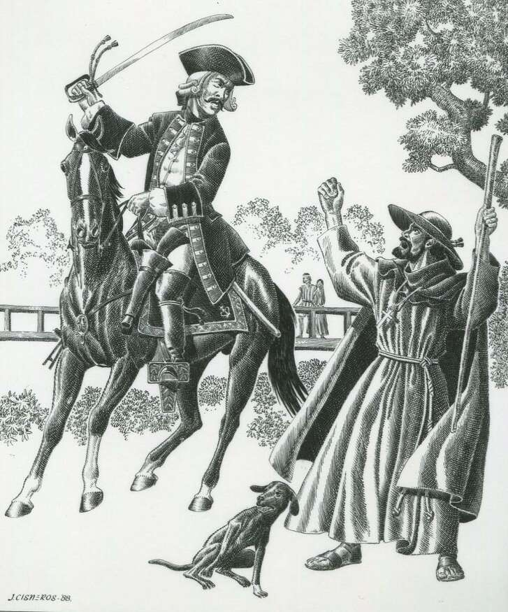 """Carlos Franquis de Lugo, governor ad interim of Texas, quarrels with Friar Mariano de lose Dolores y Viana over the construction of a bridge over the San Antonio River that connected San Fernando de Bexar with Mission San Antonio de Valero in 1736 in this scene drawn by Jose Cisneros in 1988. The artist's notes said it showed the conflict between the """"military and the Missioners."""""""