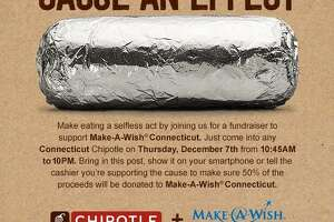 On Thursday, Dec. 7, 2017, half of the proceeds for any meal purchased at a Connecticut Chipotle Mexican Grill will be donated to Make-A-Wish. The fundraiser will take place from 10:45 a.m. to 10 p.m. at all the Connecticut locations of the franchise.