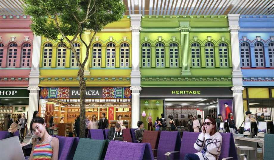 T4's Heritage Zone has traditional Singaporean storefronts. (Image: Changi Airport Group) Photo: Changi Airport