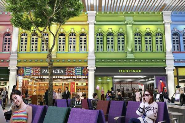 T4's Heritage Zone has traditional Singaporean storefronts. (Image: Changi Airport Group)