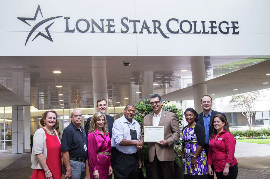 Lone Star College is working with the U.S. Department of Labor as the first in Texas to develop registered apprenticeship programs. Pictured (left to right) are Caroline Williamson, executive director, LSC Workforce Project Development; Hubert Hillman, faculty member, LSC-Corporate College; Ken Kral, executive director, LSC Corporate Sales and Employer Services; Linda Leto Head, associate vice chancellor, LSC Workforce Education and Corporate Partnerships; James Carnes, Apprenticeship and Training representative, Department of Labor Office of Apprenticeship; Shah Ardalan, president, LSC-University Park; Christina Boutte, director, LSC-University Park Career and Technical Education; Steve Kahla, dean of instruction, LSC-University Park; and Katherine Cecil Sanchez, vice president of instruction, LSC-University Park. Photo: Submitted / © Lone Star College-University Park