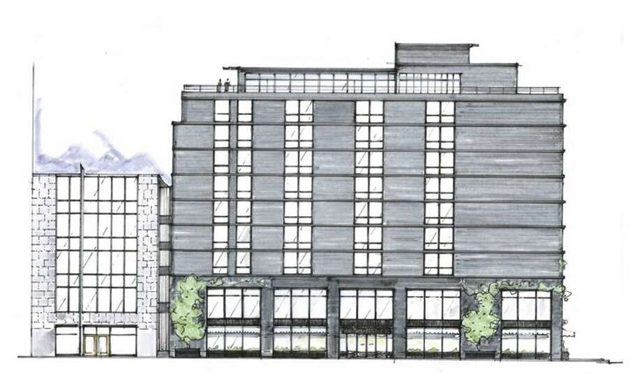 Rendering of the exterior of the Eaton Workshop hotel in Washington, previously a Four Points on K & 12th. (Image:Gachot Studios/Eaton Workshop)
