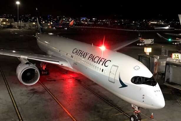 This beautiful new bird sails west across the Pacific overnight, departing SFO in the wee hours, arriving HKG in the morning (Photo: Chris McGinnis)