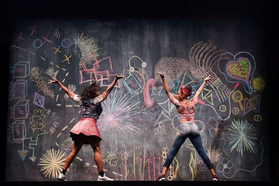 Camille A. Brown & Dancers Fana Fraser and Beatrice Capote perform �Black Girl: Linguistic Play,� choreographed with double Dutch, stepping, tap, ring shout and other African American dance forms. Photo: Christopher Duggan.
