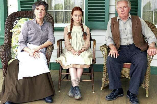"""Sara Botsford (left) plays the no-nonsense Marilla Cuthbert, who looks after orphan Anne Shirley, played by Ella Ballentine (center), along with brother Matthew, played by Martin Sheen, in PBS' """"Anne of Green Gables — The Good Stars"""" premiering Thanksgiving night."""
