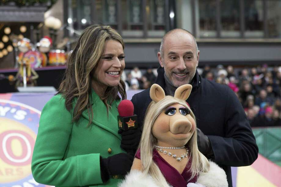 """Parades""""The 90th Annual Macy's Thanksgiving Day Parade"""" on NBC begins the holiday's television festivities at 9 a.m. Seen here are hosts Savannah Guthrie, Matt Lauer and Miss Piggy. Photo: Eric Liebowitz / NBC / 2016 NBCUniversal Media, LLC"""