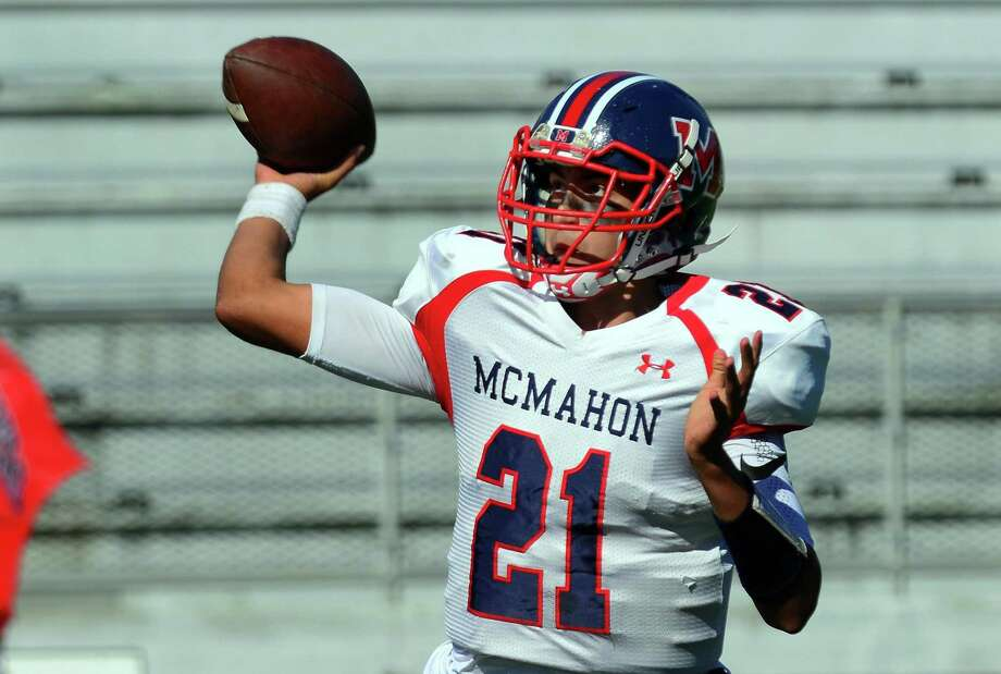 Brien McMahon QB Chris Druin during football action against Central in Bridgeport, Conn. on Saturday Oct. 21, 2017. Photo: Christian Abraham / Hearst Connecticut Media / Connecticut Post