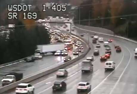 A collision shut down southbound I-405 in Renton Tuesday afternoon. Photo: WSDOT