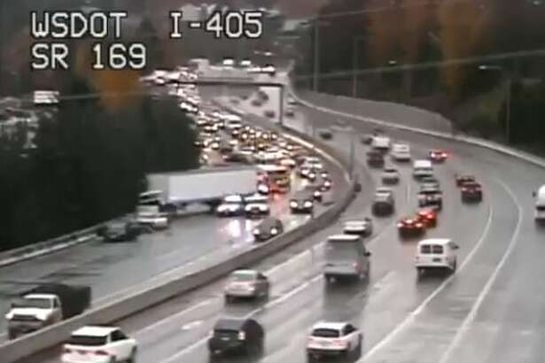 A collision shut down southbound I-405 in Renton Tuesday afternoon.