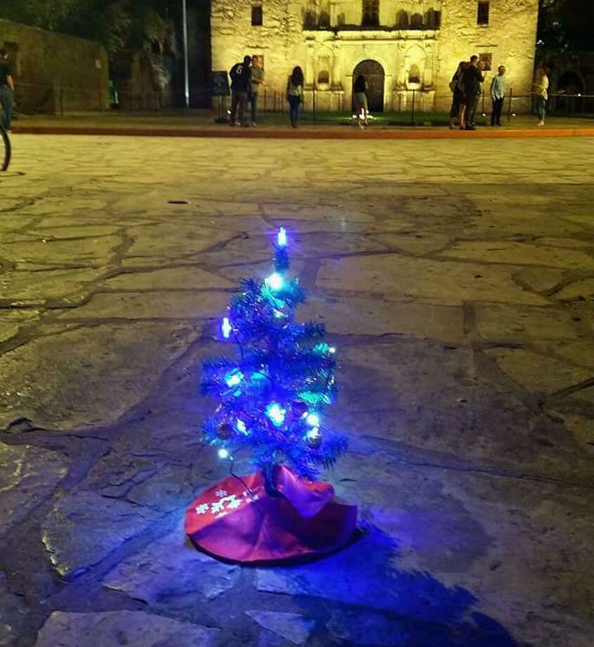 Steve Monreal was so upset about the moving of the giant Christmas tree lighting ceremony to Travis Park, he set up miniature trees at downtown San Antonio landmarks. The trees have since been removed but shine on on social media. Photo: Courtesy Steve Monreal