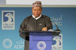 Secretary General of OPEC, Nigerian Mohammed Barkindo, speaks during the Abu Dhabi International Petroleum Exhibion and Conference on November 13, 2017, at the Abu Dhabi National Exhibition Centre. The next OPEC meeting is November 30.