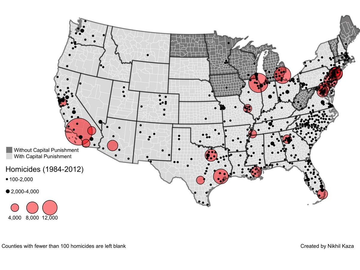 Homicide numbers alone don't explain where the most executions occur.