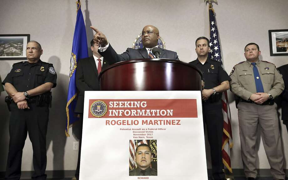 """FBI Special Agent in Charge of the El Paso field office Emmerson Buie Jr. speaks during a press conference at the FBI field office, Tuesday, Nov. 21, 2017, in El Paso, Texas, about the death of a border patrol agent and the severe injuries of a second agent. FBI officials said Tuesday that officers are investigating the incident as a """"potential physical assault"""" on federal officers, but said there are several scenarios that might have led to the agents' injuries. (Mark Lambie/The El Paso Times via AP) Photo: MARK LAMBIE, Associated Press"""