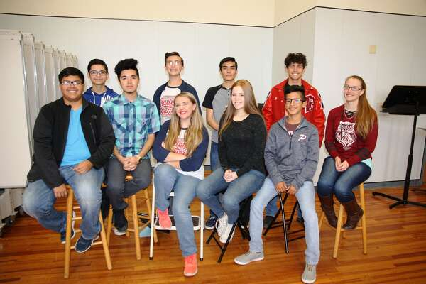 PHS A Cappella choir students selected for the Area choir are Caleb Aguirrre (seated, left), Anthony Acosta, Emily Franklin, Lainie Nelson, Joseph Alcozer, Camarie Henderson, Anjel Rivas (back row, left), Timothy Franklin, Josue Hernandez, and J.J. Rodriguez.  Not pictured: Mitch Sims.