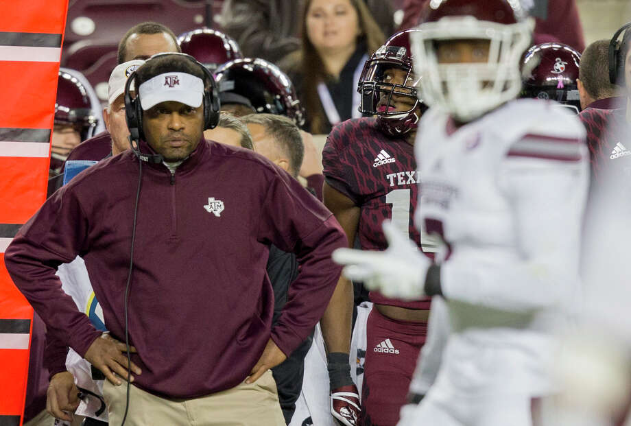 FILE - In this Saturday, Oct. 28, 2017, file photo, Texas A&M head coach Kevin Sumlin looks during the second quarter of an NCAA college football game against Mississippi State in College Station, Texas.  Florida became the first Power Five program this season to make a coaching, but several more enter the last month of the season faced with what could be a hard choice. Texas A&M has a record of 5-3. (AP Photo/Sam Craft, File) Photo: Sam Craft, FRE / AP