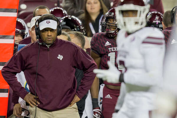 FILE - In this Saturday, Oct. 28, 2017, file photo, Texas A&M head coach Kevin Sumlin looks during the second quarter of an NCAA college football game against Mississippi State in College Station, Texas.  Florida became the first Power Five program this season to make a coaching, but several more enter the last month of the season faced with what could be a hard choice. Texas A&M has a record of 5-3. (AP Photo/Sam Craft, File)
