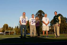 Don Simoni, Ray Balzarini,  Laurie Balzarini, Frank Enriquez and Bo Crane stand for a portrait at Sequoia High School in Redwood City.  Simoni, Balzarini and Enriquez  played on the Sequoia High School football team that won the Little Big Game, between Sequoia and Palo Alto,  to go undefeated in 1967.