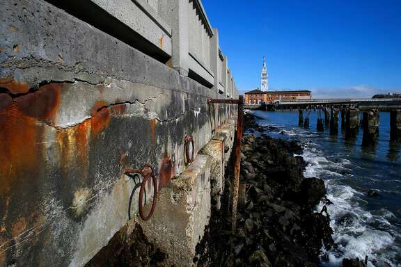 The decaying seawall along the Embarcadero in San Francisco, California, on Fri. June 24, 2016.