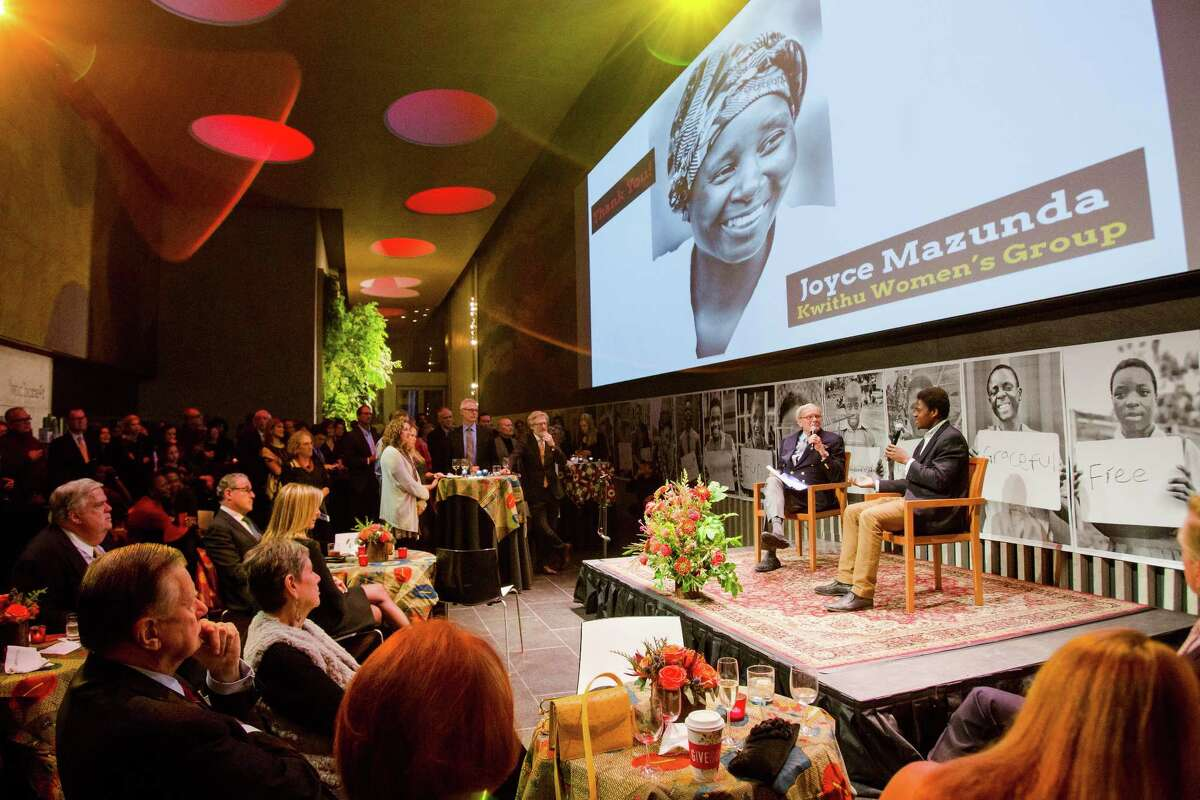 Walani Ndhlovu is interviewed by Tom Brokaw on stage at Lincoln Center in New York City recently at a benefit for Maloto, the Rockland County group that helped him come to Union College.