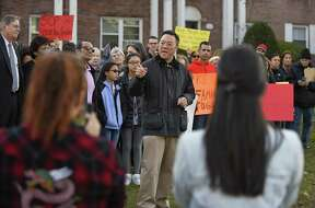 State Rep. William Tong speaks during a prayer vigil Tuesday outside the home of Miriam Martinez Lemus in Stamford.