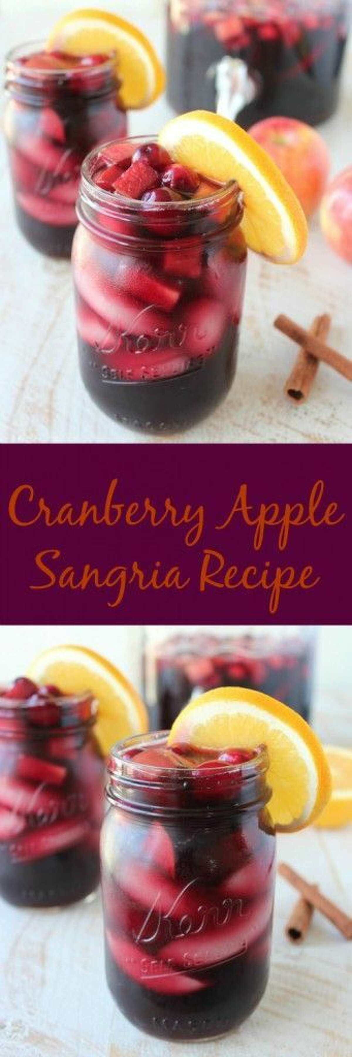 Cranberry apple sangria:Kick start any holiday party with this boozy beverage. Photo/recipe: Pinterest