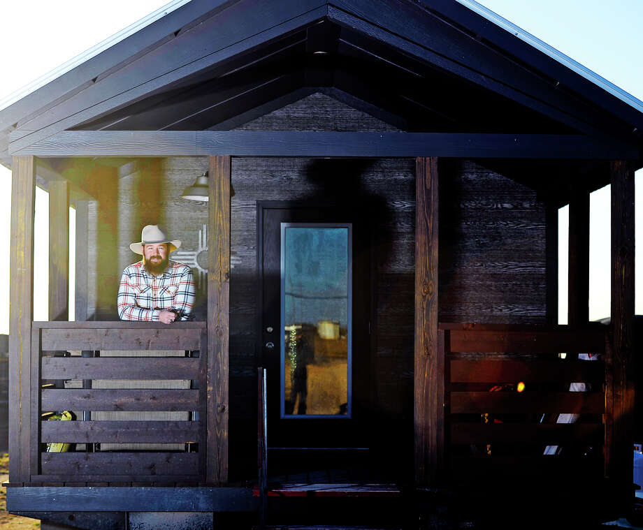 John-Mark Echols is involved with Breaking Bread and Church Under the Bridge and created a nonprofit to build tiny houses, photographed at his home Nov. 21. 2017. James Durbin/Reporter-Telegram Photo: James Durbin