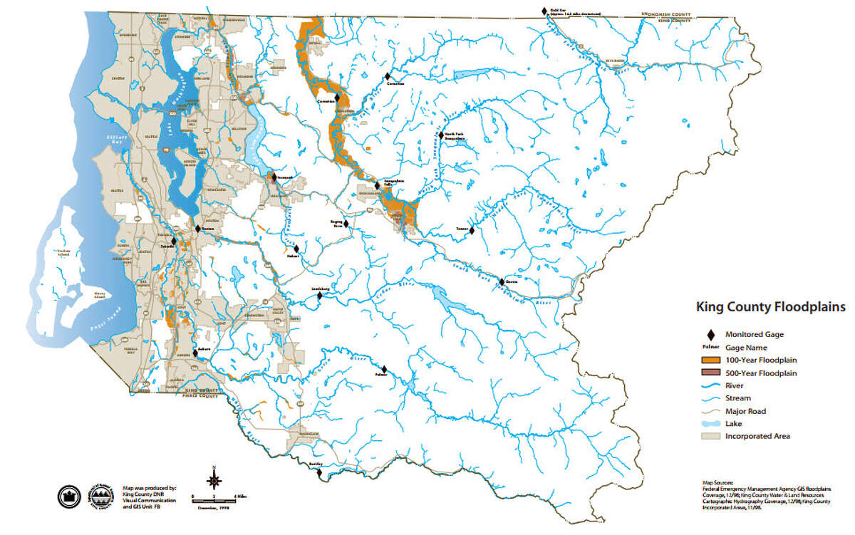 This King County map shows areas considered to fall within a 100-year floodplain.