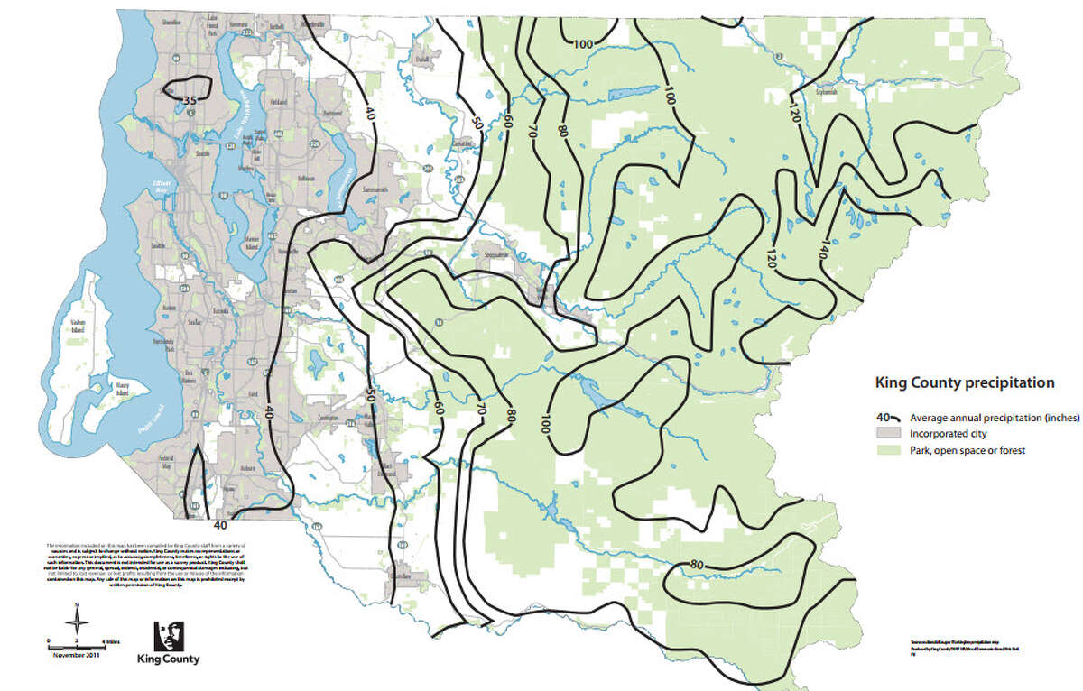 This King County map shows annual average precipitation figures for the county.