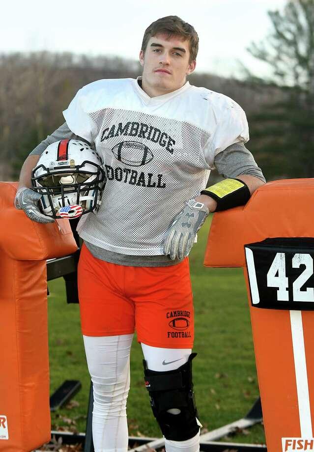 Cambridge senior linebacker Max Hoffer on Tuesday, Nov. 21, 2017 in Cambridge, N.Y. (Lori Van Buren / Times Union) Photo: Lori Van Buren / 20042197A