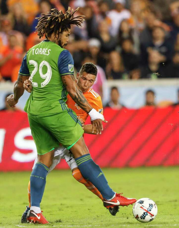 Seattle Sounders FC acquired defender Román Torres from Inter Miami CF for a conditional first-round pick in the 2021 MLS SuperDraft, the club announced Monday. Torres played for the Rave Green from 2015-19. Photo: Brett Coomer, Staff / © 2017 Houston Chronicle