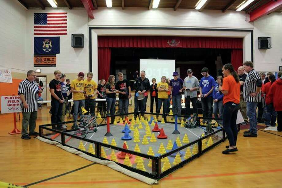 Ubly, Caro and Croslex VRC robotics teams competed recently at Ubly Community Schools. (Submitted Photo) / 2017 Carol McCarty Photography