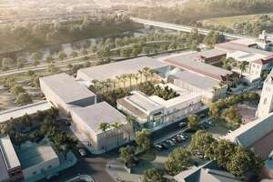 This architectural rendering shows the proposed design for the downtown convention center. Casa Ortiz and 907 Zaragoza St. are shown in the foreground, with the convention center wrapping around on the east, south and west sides. La Posada Hotel is down the street with the red roof.