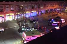 Norwalk police detain a man who a witness at the scene said is the suspect in a West Avenue drunk driving incident. Two people were seriously hurt at the scene Wednesday morning around 1 a.m.